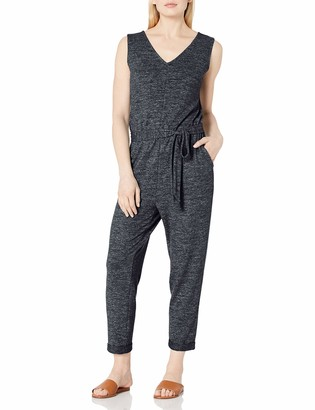 Daily Ritual Dailty Ritual Women's Cozy Knit Relaxed-Fit Sleeveless Tie-Waist Jumpsuit