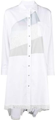 Koché Patchwork Lace-Embroidered Shirt Dress