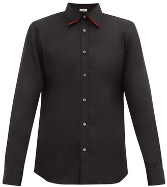 Alexander McQueen Double-collar Stretch-cotton Shirt - Black