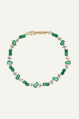 Suzanne Kalan 18-karat Gold, Emerald And Diamond Bracelet - one size