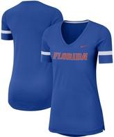 Nike Women's Royal Florida Gators Fan Tri-Blend Loose Fit Performance V-Neck T-Shirt