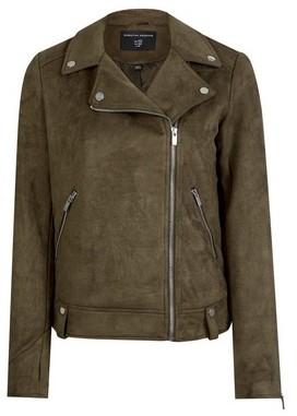 Dorothy Perkins Womens Khaki Suede Biker Jacket