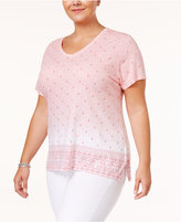 Style&Co. Style & Co Plus Size Cotton Border-Print Top, Only at Macy's