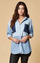 MinkPink Soul Patch Denim Button-Down Shirt