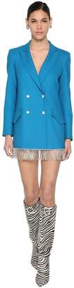 Giuseppe Di Morabito COOL WOOL JACKET DRESS W/CRYSTAL FRINGES