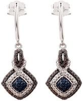 Savvy Cie Blue Pave Diamond Drop Earrings - 0.08 ctw