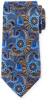 Ermenegildo Zegna Printed Paisley Silk Tie, Brown
