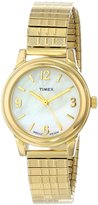Timex Women's Elevated Classics T2N843 Stainless-Steel Quartz Watch with Mother-Of-Pearl Dial