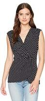 Chaus Women's S/S Dot Print Knot Front Top