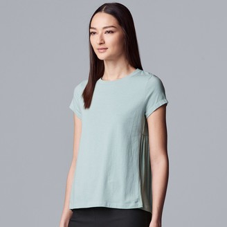 Vera Wang Women's Simply Vera Mixed-Media Shirred Tee
