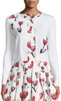 Oscar de la Renta Tulip-Embroidered Wool Cardigan