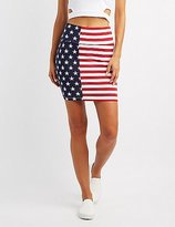 Charlotte Russe American Flag Bodycon Mini Skirt