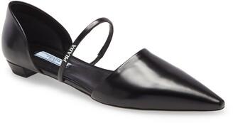 Prada Mary Jane Strap Pointed Toe Flat