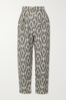 IRO Trizay Printed Cotton-pique Tapered Pants