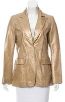Barbara Bui Leather Notch-Lapel Blazer