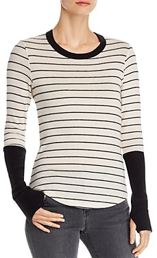 Red Haute Striped Long-Cuff Sweater