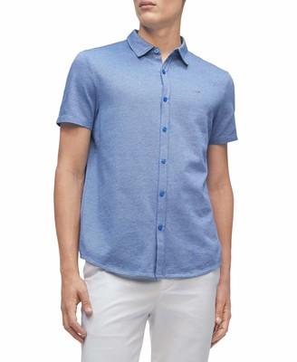 Calvin Klein Men's Short Sleeve Liquid Touch Polo Button Down Shirt