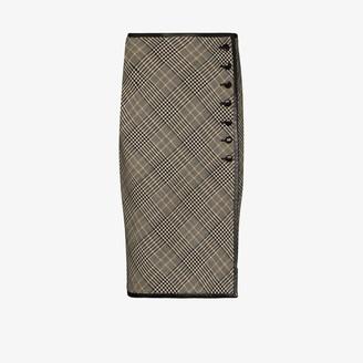 Saint Laurent Checked Buttoned Pencil Skirt