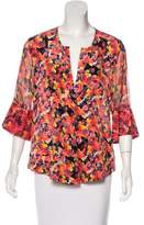 Chris Benz Abstract Print Silk Blouse