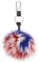 Gorski PomUSA Fox Fur Pompom Keychain, Red/White/Blue