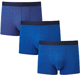 John Lewis Brick/plain/dot Trunks, Pack Of 3, Blue