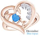 AFFY Simulated Blue Topaz & Natural Diamond Mom Heart Promise Ring in 925 Sterling Silver