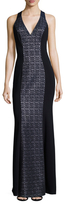 Theia Lace Colorblock Maxi Dress