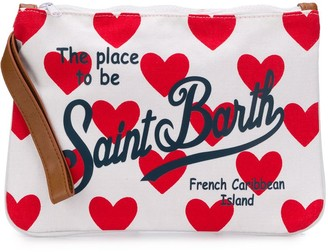 MC2 Saint Barth Logo-Print Heart-Patterned Clutch