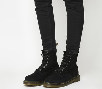 Dr. Martens 8 Eyelet Lace Up Boots Black Suede