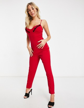 I SAW IT FIRST lace detail skinny leg jumpsuit in red