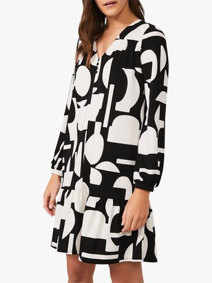 Phase Eight Lois Abstract Print Swing Dress, Black/Ivory