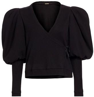 Johanna Ortiz Puff-Sleeve Cashmere Wrap Top