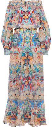 Camilla Miso In Love Off-the-shoulder Crystal-embellished Printed Silk-chiffon Maxi Dress