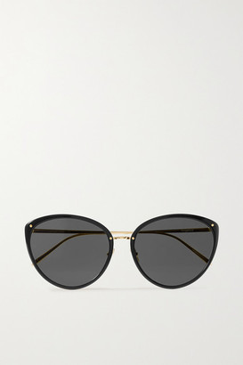 Linda Farrow Cat-eye Acetate And Gold-tone Sunglasses - Black