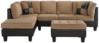 Casa Divina 3-Piece Modern Microfiber Faux Leather Sectional Sofa w/ Chaise, Hazel