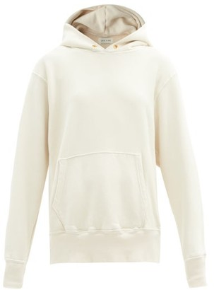 LES TIEN Brushed-back Cotton Hooded Sweatshirt - Ivory
