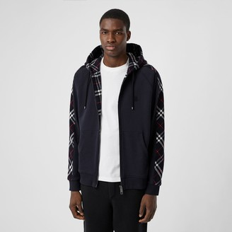 Burberry Vintage Check Panel Cotton Hooded Top