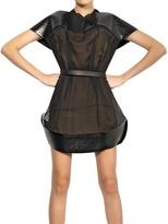Thierry Mugler Quilted Patent Scuba Silk Muslin Dress