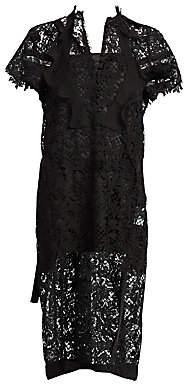 Sacai Women's Embroidered Lace Midi Dress