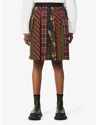 Benetton Checked and camo print crepe midi skirt