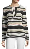 Lafayette 148 New York Joan Striped Long-Sleeve Silk Blouse
