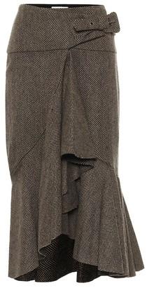 Johanna Ortiz Forever Yours herringbone wool skirt