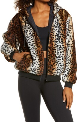 Blanc Noir Animal Print Faux Fur Zip Hoodie