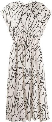 Alysi outline print midi dress