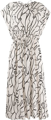 Alysi Outline Print Midi Dress
