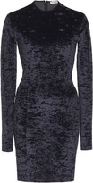 Balenciaga Crushed Velvet Biker Short Mini Dress