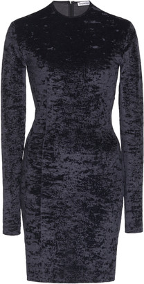 Balenciaga Crushed Velvet Biker Short Mini Dress