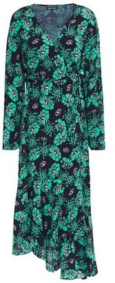 Markus Lupfer Caroline Asymmetric Floral-print Crepe Midi Wrap Dress