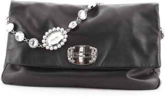 Miu Miu Crystal Fold Over Clutch Nappa Leather Large