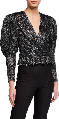IRO Guarda Metallic Tweed Blouse